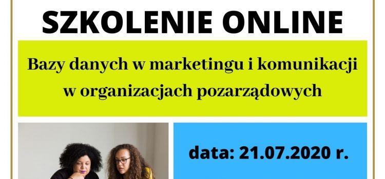 """Zapraszamy na bezpłatne szkolenie online pn. ,,Bazy danych w marketingu i komunikacji w organizacjach pozarządowych"""""""